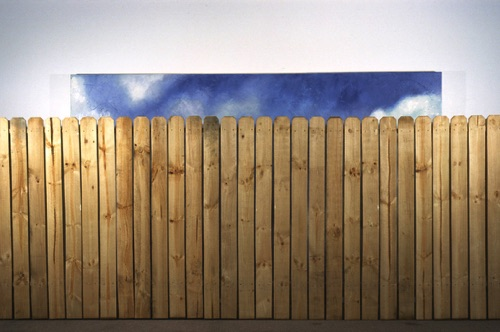 Obstacle Oil on canvas with wood fence Dimensions variable